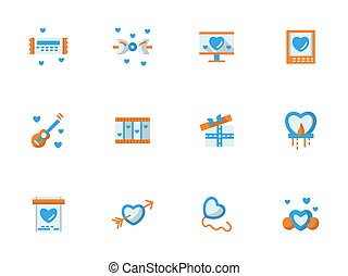 Vector collection of love greeting flat icons