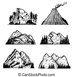 Vector collection of mountains and rocks.