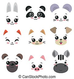 Vector collection of nine cute animal faces