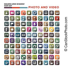 Vector collection of Photo Video icons with long shadow.