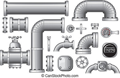 Vector Collection of Pipe and Pipeline Isolated Construction Pieces, Pipes Elements , Valve, Faucet, vector no gradients, no meshes used