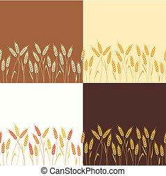 vector collection of seamless repeating wheat backgrounds