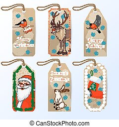 Vector collection of six cute christmas gift tags with Santa, bullfinch, hare and red nose reindeer Rudolph