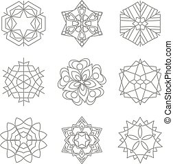 Vector collection of snowflakes, winter elements on a white background
