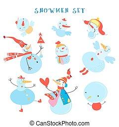 Vector collection of snowmen
