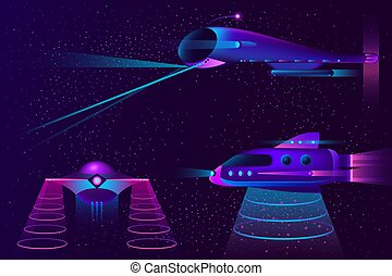 Vector collection of spaceships, UFO and aircraft