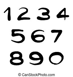 Vector collection of street art style hand written numbers