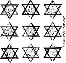 Vector collection of the stars of David created in grunge style.