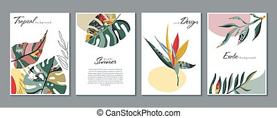 Vector collection of trendy creative summer seamless patterns with floral exotic tropical elements, palm leaves