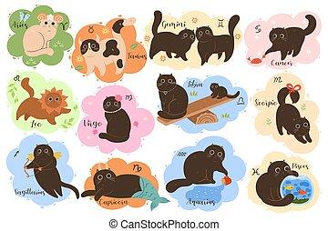 Vector collection of twelve zodiac signs: Aries, Taurus, Gemini, Cancer, Leo, Virgo, Libra, Scorpio, Sagittarius, Capricorn, Aquarius, Pisces. Set of cute kawaii zodiac cats.