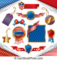 Vector collection of usa patriotic signs, labels, tags  and emblem