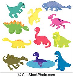 Vector collection of various kinds of cute cartoon dinosaurs.