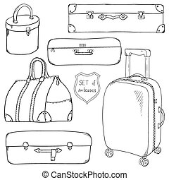 Vector Collection of vintage sketch suitcases. - Vector...