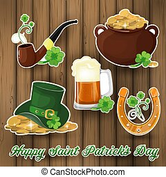 Vector collection of vintage stickers for St. Patrick s day with hand drawn elements