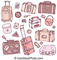Vector Collection of vintage suitcases. Travel Illustration...