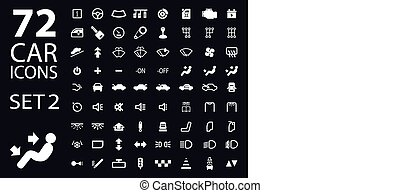 vector collection of white car dashboard panel indicators