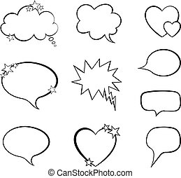 Vector Collection Of Word Bubble Comic Design Elements, Blank Frames Set.