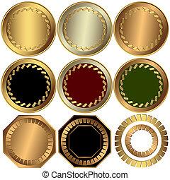 (vector), collection, or, récompenses, argent, bronze