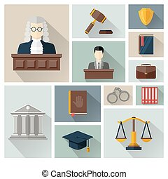 Vector collection or set of law and justice icons