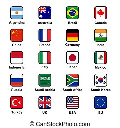 Vector collection set of G20 states (major economies) official flags in squared format