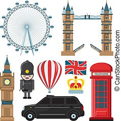 Vector collection set of london landmarks. London travel...