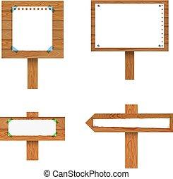 vector, collection., vrijstaand, verzameling, papier, signposts, bladen