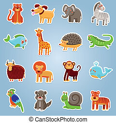 Vector collection with 16 cartoon animals - funny characters