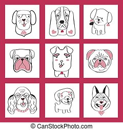 collection with cute dogs set in sketch cartoon style