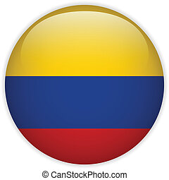 Colombia Flag Glossy Button - Vector - Colombia Flag Glossy...