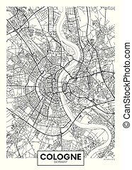 vector, colonia, ciudad, detallado, mapa, cartel