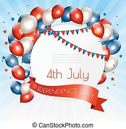 vector., coloré, july., américain, 4ème, fond, vacances, ballons