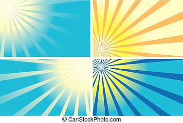 vector color backgrounds with rays - set