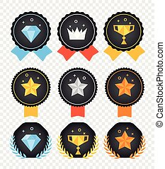 Vector color badges collection isolated on transparent background