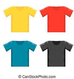 vector color blank t-shirt design template set.