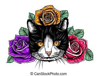 Vector Color Cat Roses Illustration design art
