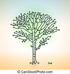 Vector color circuit board electronic tree - digital...