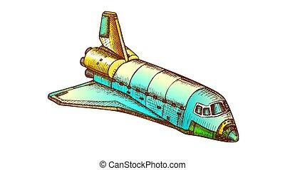 vector, color de embarcación, lanzadera, explorar, espacio