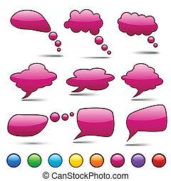 vector, color, discurso, bubbles.