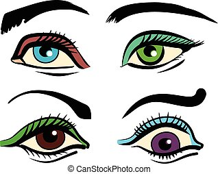 Vector color eyes illustration set