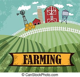 farm and farmland - vector color farm and farmland flat...