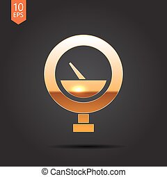 Vector color flat manometer icon - Vector gold manometer...