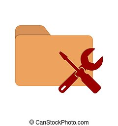 Vector color folder icon with a screwdriver and key. Symbol for setting, repairing, or adjusting parameters. Stock illustration isolated on a white background.