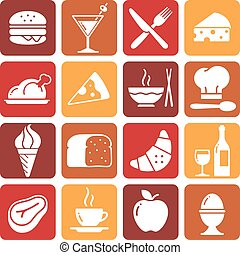 Vector Color Food Icons Collection 1 - A collection of funny...