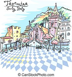 Vector color hand drawing. The square Piazza IX Aprile in Taormina, Sicily, Italy