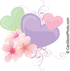 vector color hearts and pink flowers pastel illustration