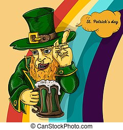 color illustration coloring on the theme of St. Patricks day celebration, leprechaun holding a glass of foam ale, on a rainbow background