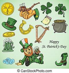 color illustration coloring on the theme of St. Patricks day celebration, set of design elements