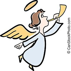 Vector color illustration of a young angel with a trumpet on a white background