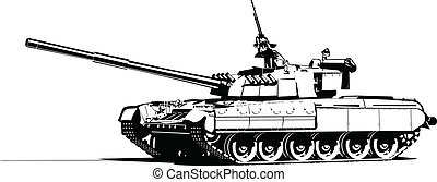 Vector color illustration of modern heavy tank.