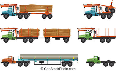 Vector color illustration of trucks. (pipe truck, short log truck, timber lorry)